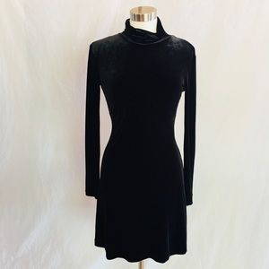 Nicole Miller High Neck Velour Dress
